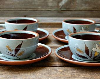 Set of 4 Vintage Stangl Golden Harvest Tea Cups and Saucers