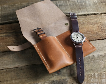 Leather Watch Travel Roll // Horween Leather Watch Case in Natural Dublin // Custom Watch Storage and Leather Travel Accessory