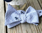 Self-tie Embroidered Seersucker Bow Tie