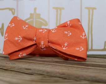 Orange Anchors Bow Tie