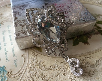 Victorian Swarovski rhinestone crystals wedding bridal dress brooch pin, chandelier brooch, crystals brooch, bridal jewelry, wedding dress