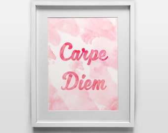 Digital download | Carpe Diem | Watercolor print look | Inspirational print