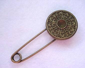 Shawl Pin Bronze Tone Fancy Circle Shawl Pin Antique Bronze Circle Kilt Pin MB36