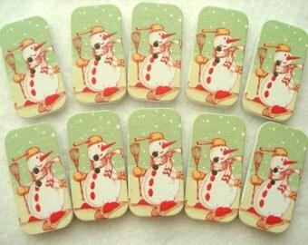Christmas Buttons 34mm Green Oblong Buttons Pack of 12 Snowman Button CR333