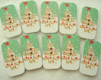 Christmas Buttons 34mm Green Oblong Buttons Pack of 10 Snowy Tree Button CR33B