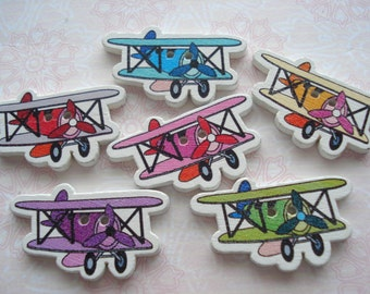 30mm Wood Buttons Aeroplane Shape Buttons Pack of 10 WW3045