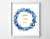 Indigo Navy Blue Watercolor Custom Quote Printable by paper and palette