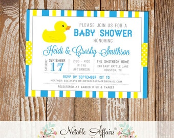 Cyan Blue and Yellow Rubber Duck Stripes and Polka Dots Baby Shower invitation - choose your colors - Rubber Ducky Baby Shower