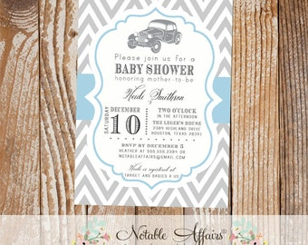 Gray and Baby Blue Chevron Vintage Car Baby Shower or Birthday Invitation  - mode of transportation shower party