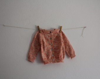 Vintage Baby Knitwear Wool Toddler Jacket Knitted Baby Cozy Handmade Kids Fall Winter Clothing Salmon Blouse