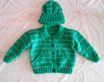 Babys Hand Knitted Unique Cardigan/Jacket With Beanie,6-12 Months