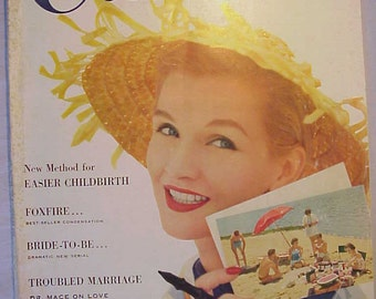 August 1955 Woman's Home Companion Magazine with cover By Leonbruno Bodi has 116 pages of ads and articles