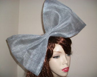 Fascinator Hat Silver Grey Big Bow headpiece on hairband, perfect for the races, 80s fancy dress or a wedding