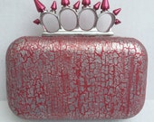 Distressed Silver & Metallic Pink Spiked Knuckle Duster