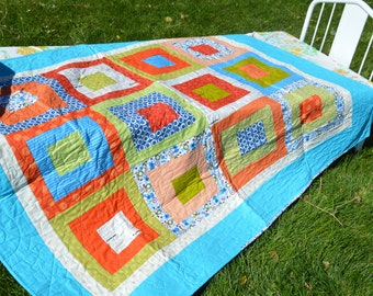 SALE Super Aliens Cogs and Wheels Quilt Free Shipping