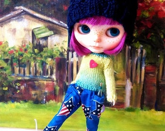 Blue with star print harem pants with two pockets for Blythe and similar size dolls