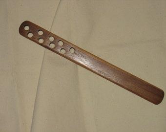 Nine hole Black walnut ruler type spanking paddle