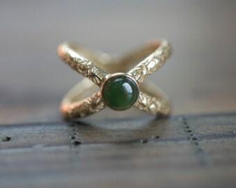 XOXO Jade 14K Gold Ring