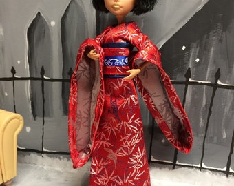 Red and Blue Japanese Kimono for your Monster High Girl Doll