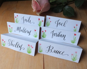 Flower Place Holders - Set of 6, Hand-written, Hand-Painted