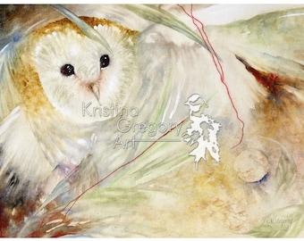 Hunter's Night, Barn Owl – Original Watercolor Painting 17X14