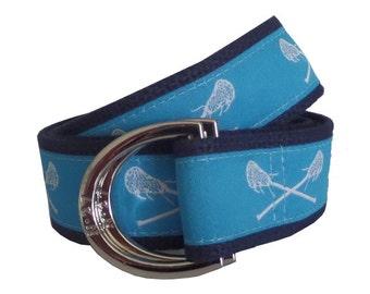 Lacrosse Belt / D-Ring Belt / Canvas Belt / Preppy Webbing Belt for Men, Women and Children/Carolina Blue Lacrosse