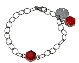 Rock On Oxidized Silver & Red Ropada Bracelet