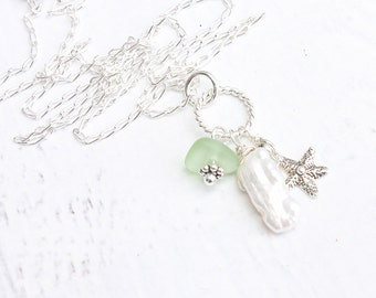 Beach Glass Necklace with Pearl, Sea Glass Jewelry, Seaglass Cluster Necklace, Beach Jewelry