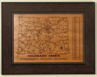 COLORADO 14er's Picture Frame, Cherry or Maple, Laser Engraved