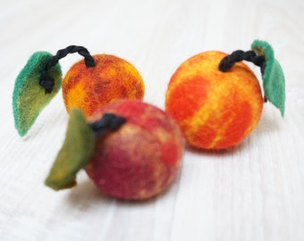 3 felted apples ornament red orange green burgundy wool balls ready to ship Christmas tree hanging bauble decoration fall autumn halloween