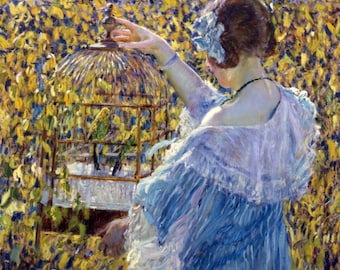 The Bird Cage by Frederick Frieseke  - a 250 piece Wooden Jigsaw Puzzle from BCB Puzzles
