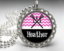 1 Personalized Hot Pink Lacrosse Bottlecap Necklace 15 Color Choices GLITTER or Plain lacrosse team team gift high school varsity jv lax