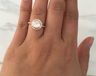 Forever Brilliant Halo Engagement Ring in 14K Rose Gold