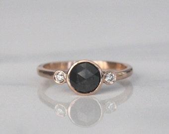 3 Stone Rose Cut Black Diamond Bezel Ring in 14K Rose Gold