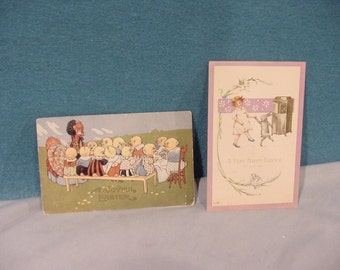 Two Very OLD Post Cards With Easter Greetings Girl Bunny Victrola