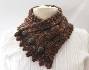 Cable Knit Cowl, Fishermans Wife Cowl, Neck Warmer, Knitted Cowl, Cable Knit Scarf, Color Sequoia (varigated browns)