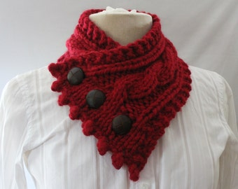 Fashionable Knit Cowl,  Cable Knit Cowl, Chunky Cowl, Neck Warmer, Knitted Cowl, Color Cranberry