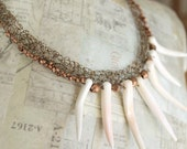 Spike Necklace, Copper Wire Jewelry, Tribal Necklace, Copper Beads, Conch Shell, Natural Jewelry, Knit Wire, Bib Statement