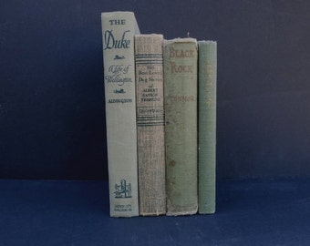 Shades of Green Book Stack/Book Decor/ Instant Library/ Book Bundle/ Decorative Books/ Wedding Decor/ Home Decor/Shabby Chic/Table Top Decor