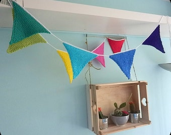 Knitted banner in rainbow colors