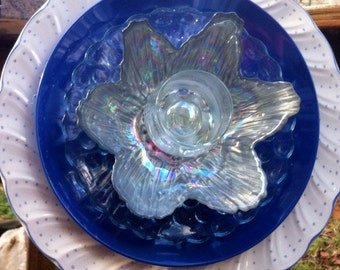 Glass Garden Flower--Iridescent Love --Garden Whimsy-Cottage Garden