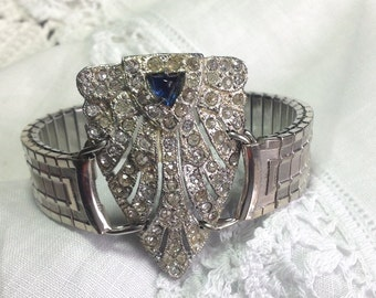 Repurposed Vtg Bold & Chunky Art Deco 30s Bracelet Blue Sapphire Rhinestones Med- LG Statement Upcycled Fur Clip Silver Watchband WishAnWear