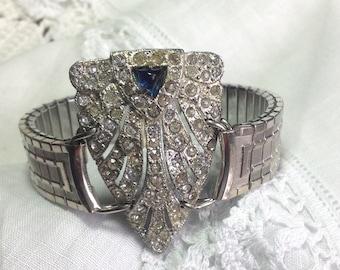 Repurposed Vtg Bold & Chunky Art Deco 30s Bracelet Blue Sapphire Rhinestones Med- LG Statement Upcycled Fur Clip Silver Watchband WishAnWear