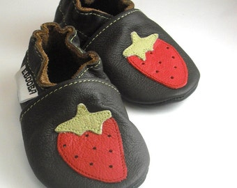 Soft sole baby shoes infant handmade strawberry red on dark-brown 12 18 m ebooba 106-3