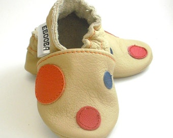 soft sole baby shoes infant handmade beige orange blue red circle 12 18 bebes garcon fille cuir souple chaussons porter ebooba CR-13-BE-T-3