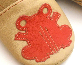 soft sole baby shoes leather children girl boy frog beige red 2 3 y Lederpuschen chaussons chaussurese garcon fille bebes ebooba FR-5-BE-M-5