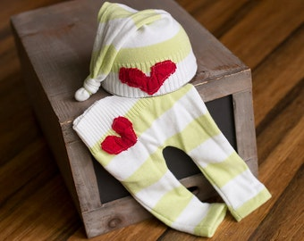 Christmas Newborn Hat and Pants Upcycled set READY TO SHIP Green and White Striped Newborn photography prop with Red Heart
