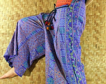 Thai long wide Pants, Cotton Style in Shades of Purple