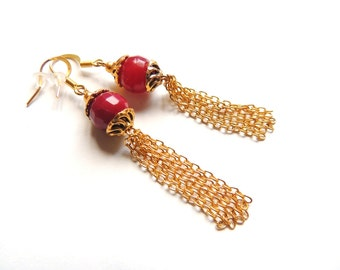 Cranberry jade earrings, gold long earrings, long chain earrings, dangle earrings, simple everyday jewelry