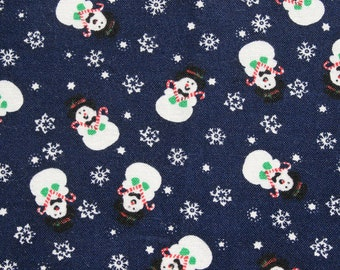 Vintage Blue Christmas Fabric, Small Print Snowmen Fabric, Sewing Quilting Craft Stocking Fabric, 1 yard